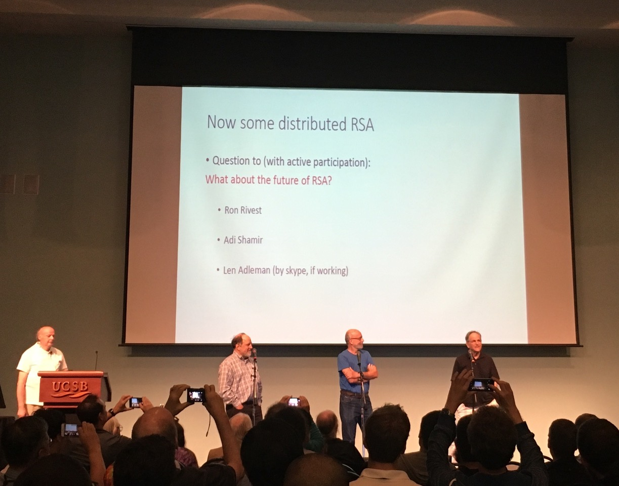 R, S, and A on stage at the Crypto 2017 rump session